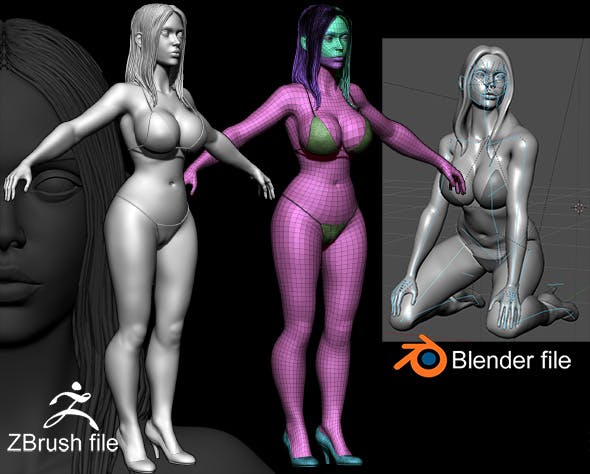 Zbrush Female 3D Sculpture - 3DOcean Item for Sale