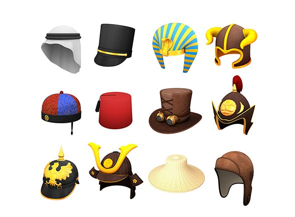 Hats and Helmet Pack 7 - 3DOcean Item for Sale