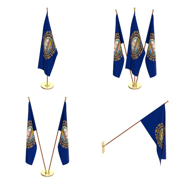 New Hampshire Flag Pack - 3DOcean Item for Sale