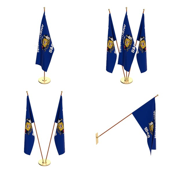 Wisconsin Flag Pack - 3DOcean Item for Sale