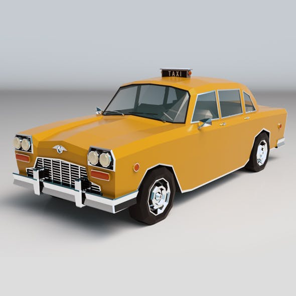 Low Poly Taxi Cab 01