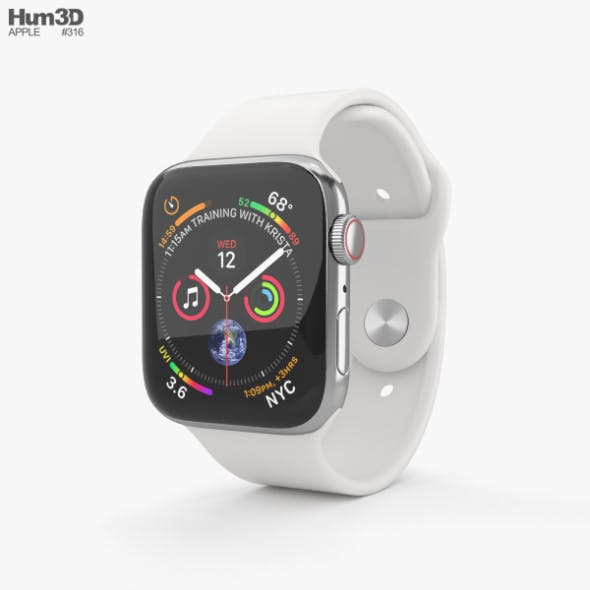 Apple Watch Series 4 44mm Stainless Steel Case with White Sport Band