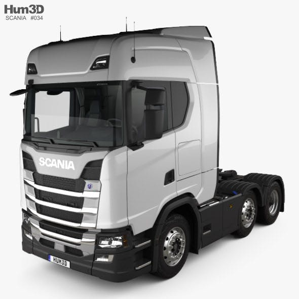 Scania R Highline Tractor Truck 3-axle with HQ interior 2017 - 3DOcean Item for Sale