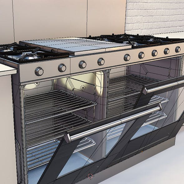 professional kitchen stove and carbinets - 3DOcean Item for Sale