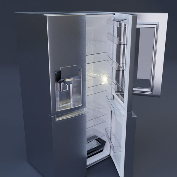 double door lg fridge 3D