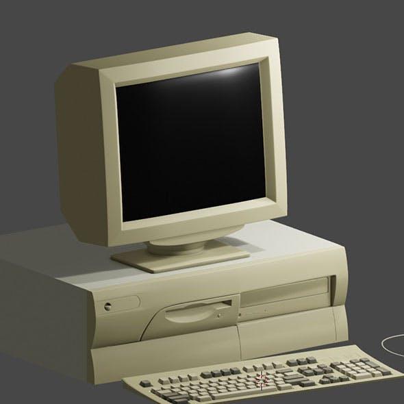 Old 90s desktop computer full set