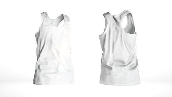 White male tank top Low-poly 3D model - 3DOcean Item for Sale
