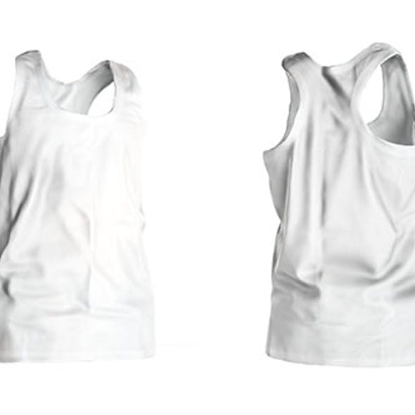 White male tank top Low-poly 3D model