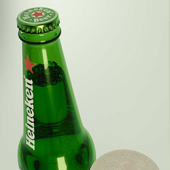 heineken beer bottle and glass of beer
