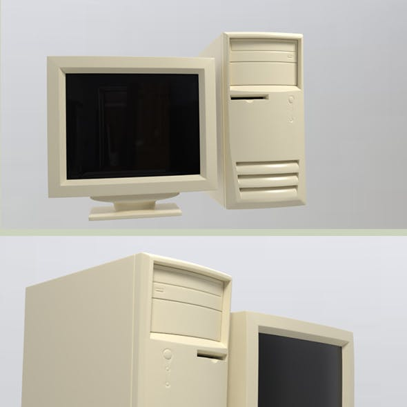 90S Old desktop computer and monitor