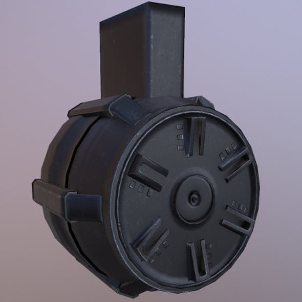 Round Drum Magazine - Weapon Attachment - PBR - 4K Textures | Unity & Unreal | Low Poly