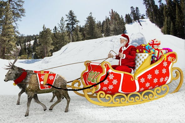 Santa Claus rides reindeer sleigh - 3DOcean Item for Sale