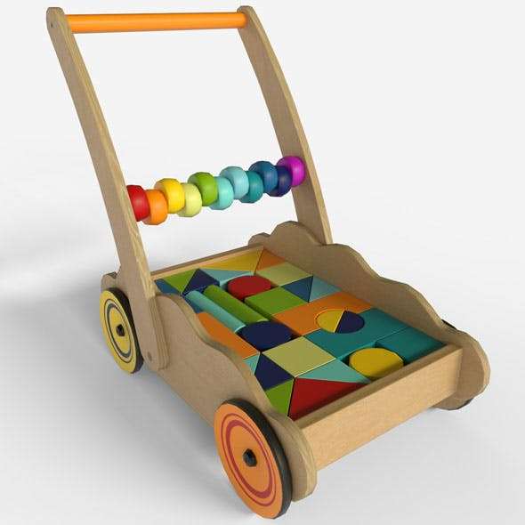 Wooden cart with baby blocks