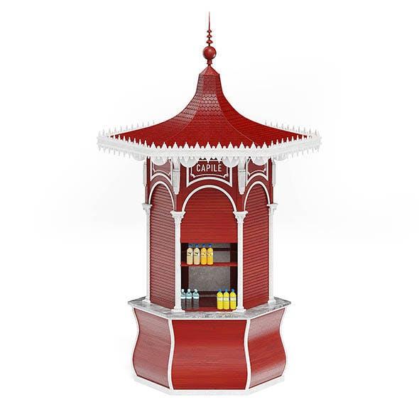 Red Kiosk 3D Model - 3DOcean Item for Sale