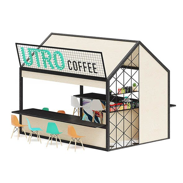 Coffee Kiosk 3D Model - 3DOcean Item for Sale