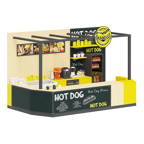 Hot Dog Stand 3D Model - 3DOcean Item for Sale