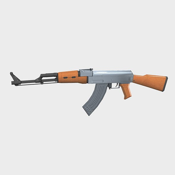 AK 47 Gun Low Poly