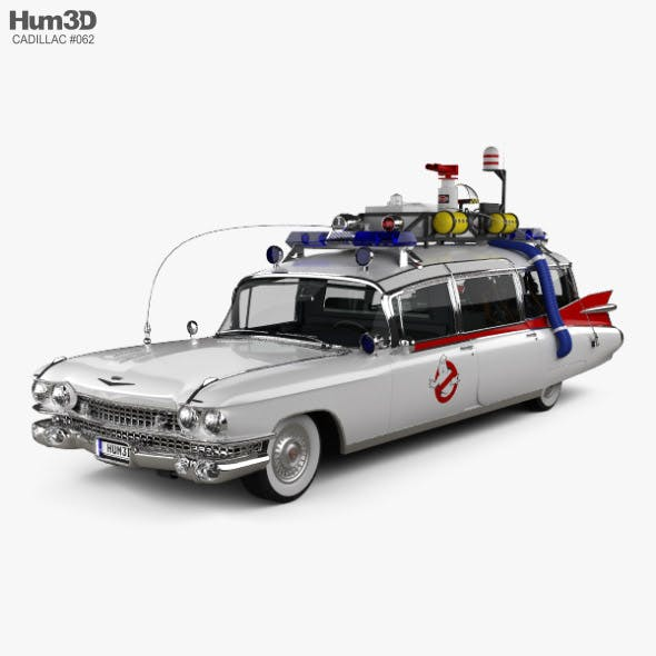 Cadillac Fleetwood 75 Ghostbusters Ectomobile with HQ interior and engine 1987 - 3DOcean Item for Sale