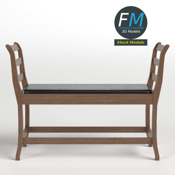 Bench with leather cushion - 3DOcean Item for Sale