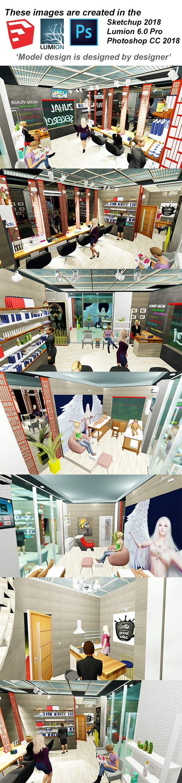 Beauty Salon Interior for Women - 3DOcean Item for Sale