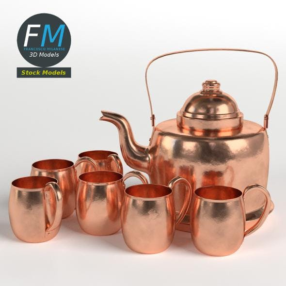 Copper kettle and mugs - 3DOcean Item for Sale