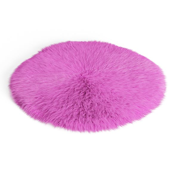 Round Pink Sheepskin Rug - 3DOcean Item for Sale