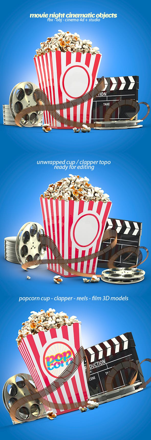 Popcorn & Cinematic Objects 3D Models - 3DOcean Item for Sale