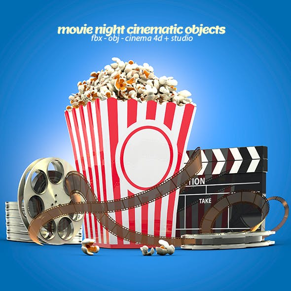 Popcorn & Cinematic Objects 3D Models