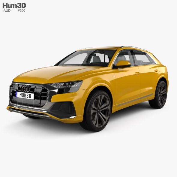 Audi Q8 S-line with HQ interior and engine 2018 - 3DOcean Item for Sale