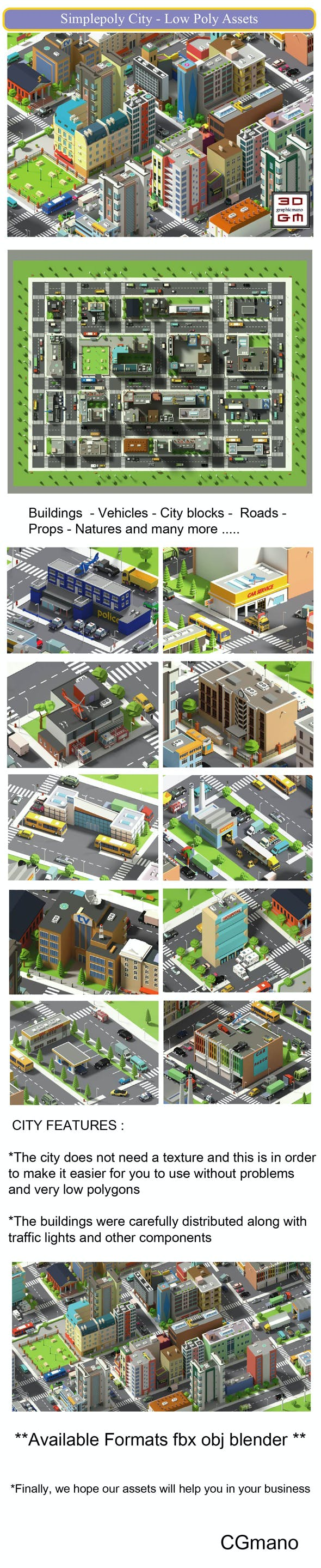 SimplePoly City - Low Poly Assets Low-poly 3D model Low-poly - 3DOcean Item for Sale