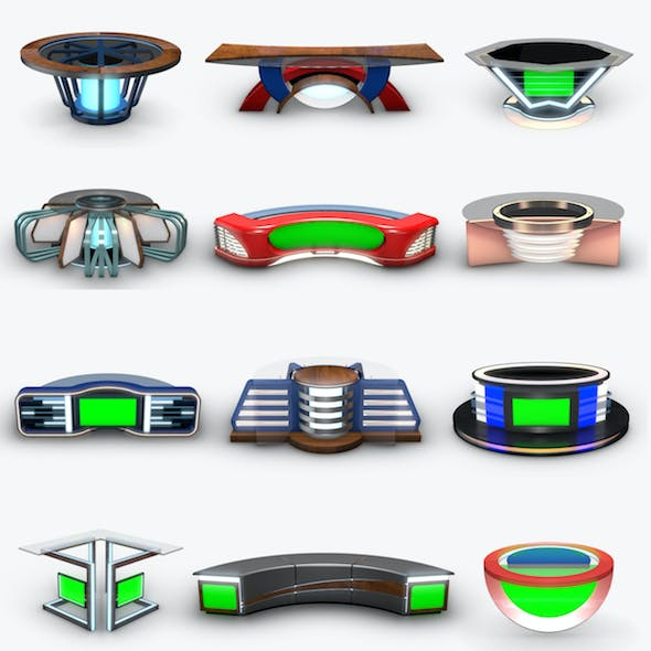Virtual Tv Studio News Desk Collection (12 Pieces )