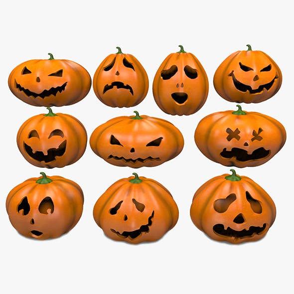 Halloween Pumpkins Emoji Set - 3DOcean Item for Sale