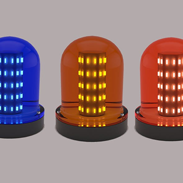 Warning Light Blue Orange Red 3D