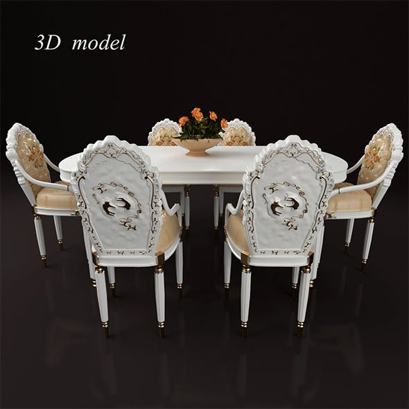 table_chairs_set_156 - 3DOcean Item for Sale