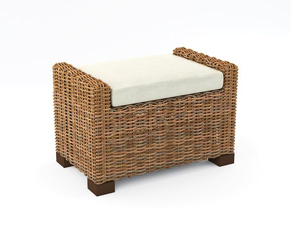 Rattan pouf - 3DOcean Item for Sale