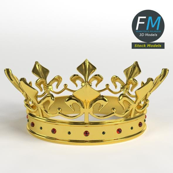 Gold crown with gems 1 - 3DOcean Item for Sale