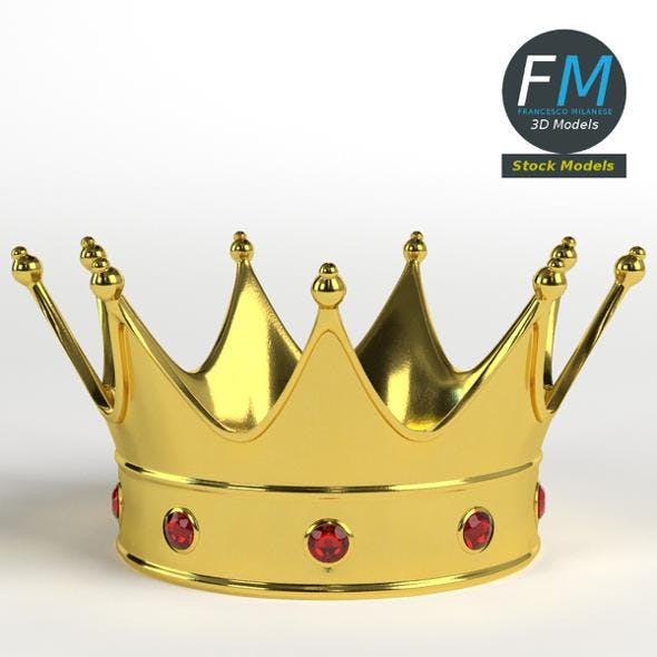 Gold crown with gems 2 - 3DOcean Item for Sale