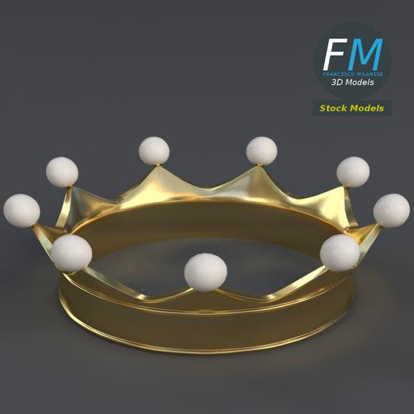 Gold crown with pearls - 3DOcean Item for Sale