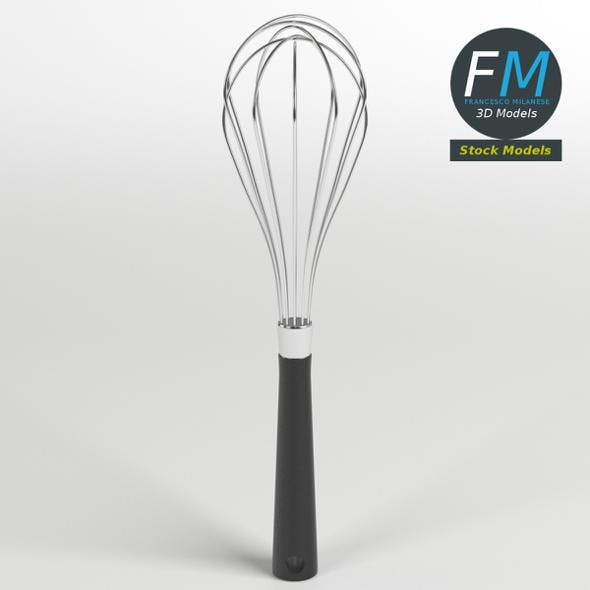 Kitchen whisk with a black handle