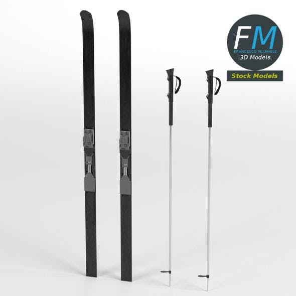 Nordic skis with poles - 3DOcean Item for Sale
