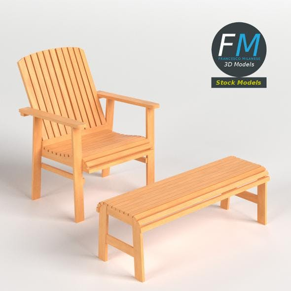 Patio chair and footrest - 3DOcean Item for Sale
