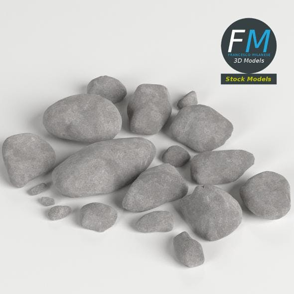 Pebbles and stones set - 3DOcean Item for Sale