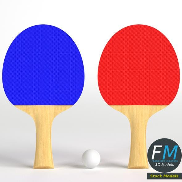 Ping pong paddles set - 3DOcean Item for Sale