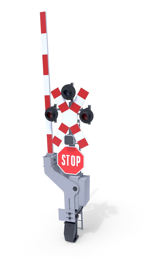 Rail Crossing Traffic Light 4 - 3DOcean Item for Sale
