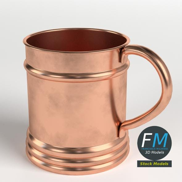Pure copper tall tea cup - 3DOcean Item for Sale
