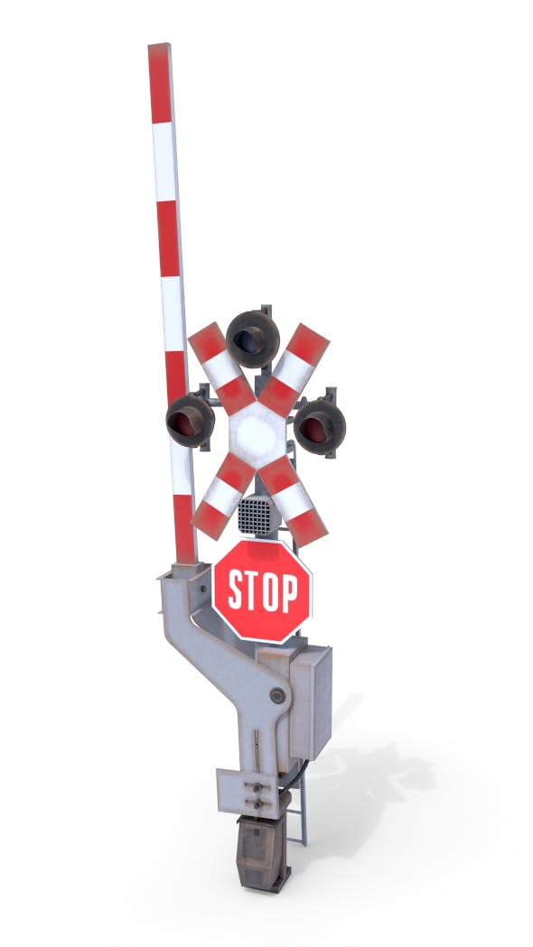 Rail Crossing Traffic Light Weathered 1 - 3DOcean Item for Sale