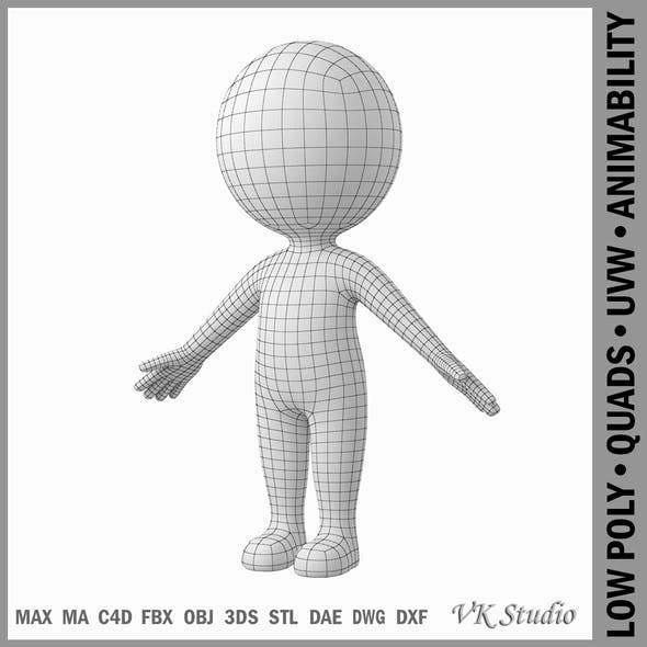 Cute Stylized Stickman in A-Pose - 3DOcean Item for Sale