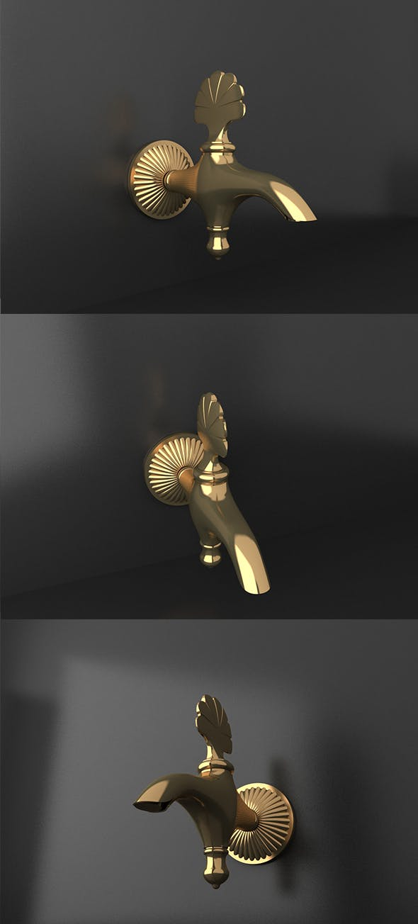Ottoman Style gold material tap - 3DOcean Item for Sale