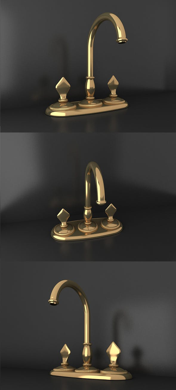 Ottoman Style gold material tap_03 - 3DOcean Item for Sale