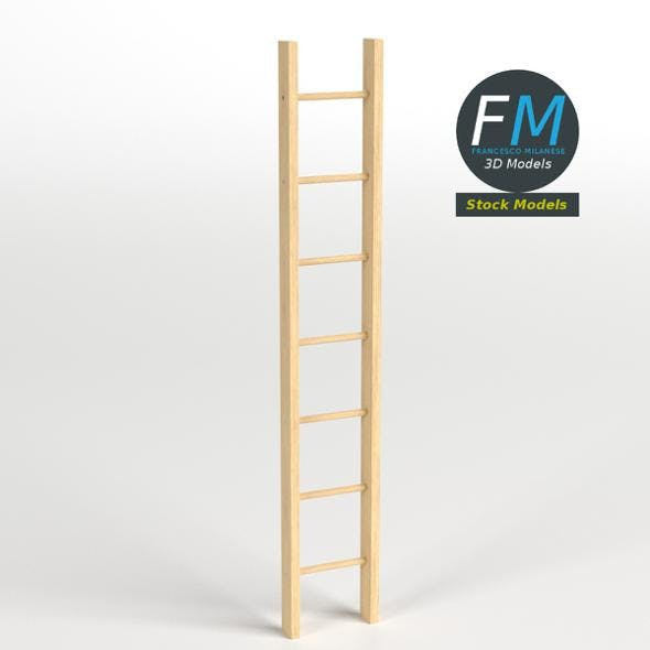 Single straight wood ladder - 3DOcean Item for Sale